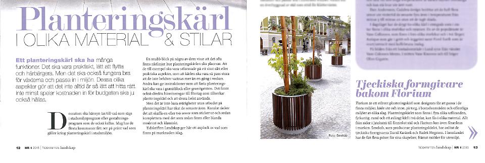 Florium planteringskärl i Tidskriften Landskap nr 1-2015