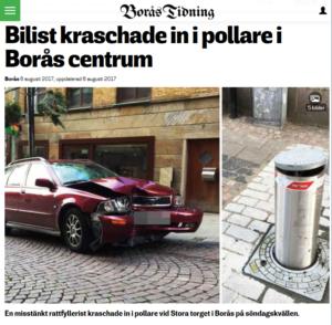 Bilisten fick tvärstopp vid pollarna i Borås centrum.