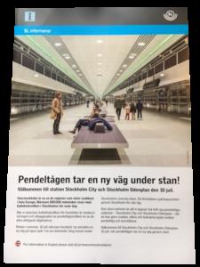 Broschyr om nya pendeltågsstationer utmed Citybanan Stockholm. På framsidan syns bild med CITYSOFFAN by Smekab.