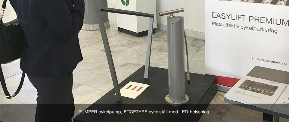 Nya produkter visas på cykelkonferensen 2017: PUMPER cykelpump och EDGETYRE cykelställ med LED-belysning.
