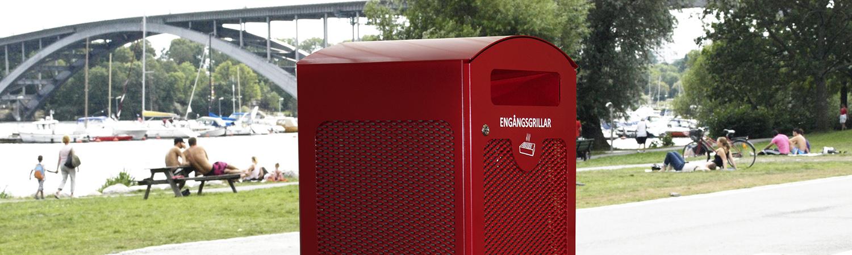 GRILLE avfallsbehållare för engångsgrillar minskar risken för bränder.