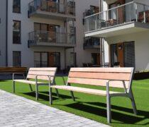 Referens/Projekt: Trygghetsboende Kvarteret Mesen i Norrköping. CS cykelställ och Miela parkmöbel med fsc-certifierad Jatoba. Smekab Citylife.
