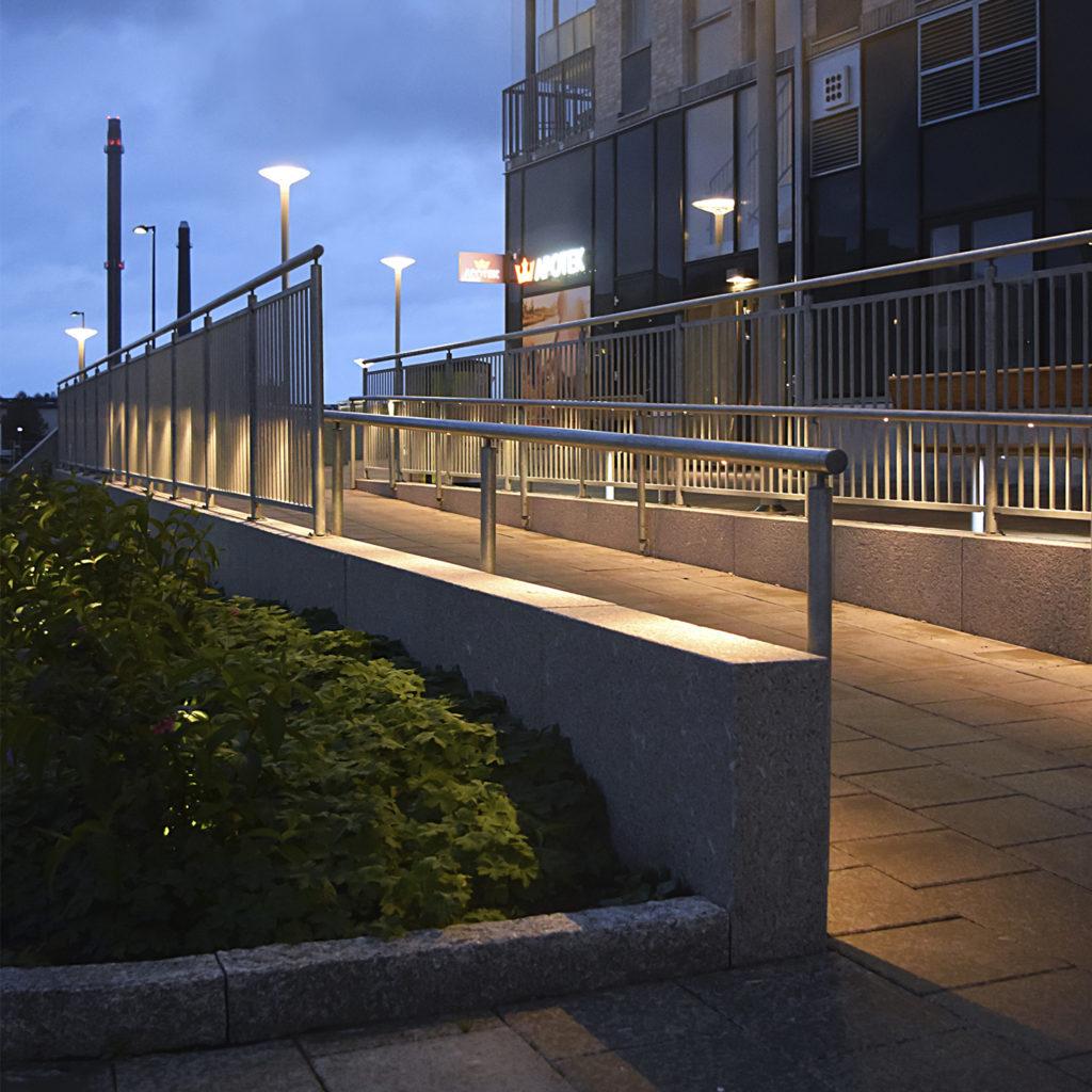 Opti räcke med LED-belysning, Munksjöstaden Jönköping.