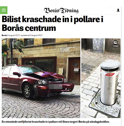 Pollare Pilomat i Borås centrum.