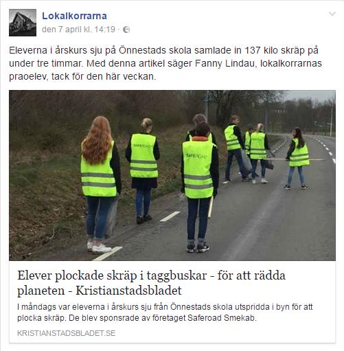 Skräpplockardag i Önnestad sponsrad av Saferoad Smekab