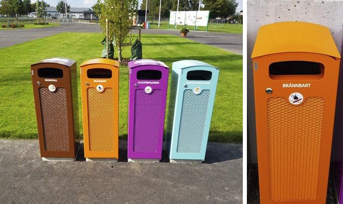 TACK papperskorgar som källsorteringsstationer på Österås Idrottsplats i Hässleholm